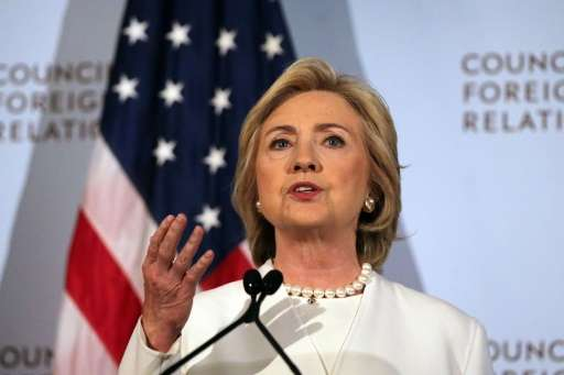 Hillary Clinton gives a speech on her approach to defeating the Islamic State terrorist network across the Middle East on Novemb