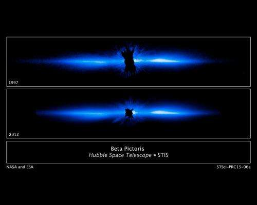 Hubble gets best view of a circumstellar debris disk distorted by a planet