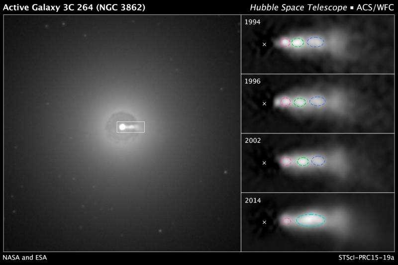 Hubble sees shock collision inside black hole jet