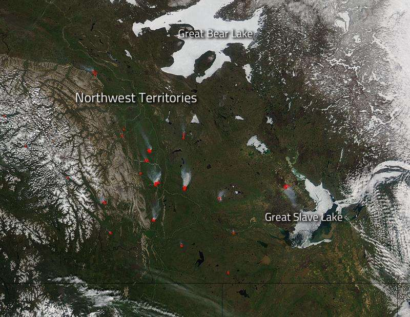 Human caused fires burn in Northwest Territories in Canada