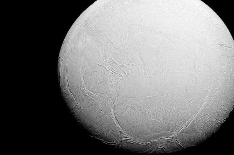 Image: Enceladus lit by the sun