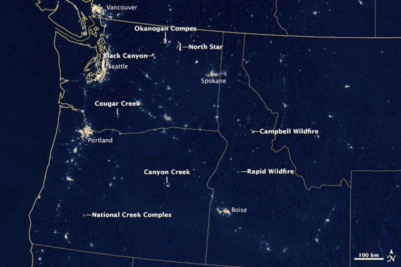 Image: Northwestern fires by night
