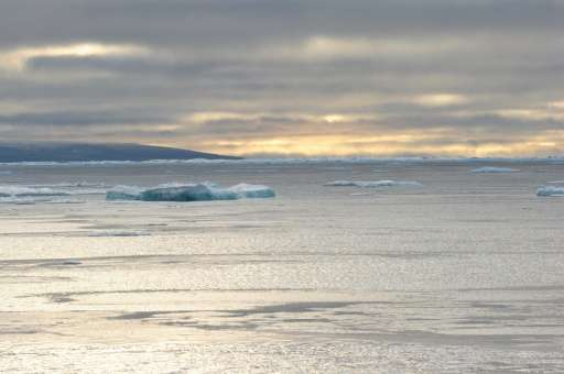 In this September 23, 2015 photo, ice chunks are seen in the Northwest Passage in the Canadian High Arctic