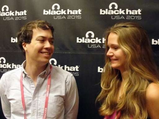 John Moore and Alexandrea Mellen attend a Black Hack computer security conference  on August 6, 2015 in Las Vegas, Nevada