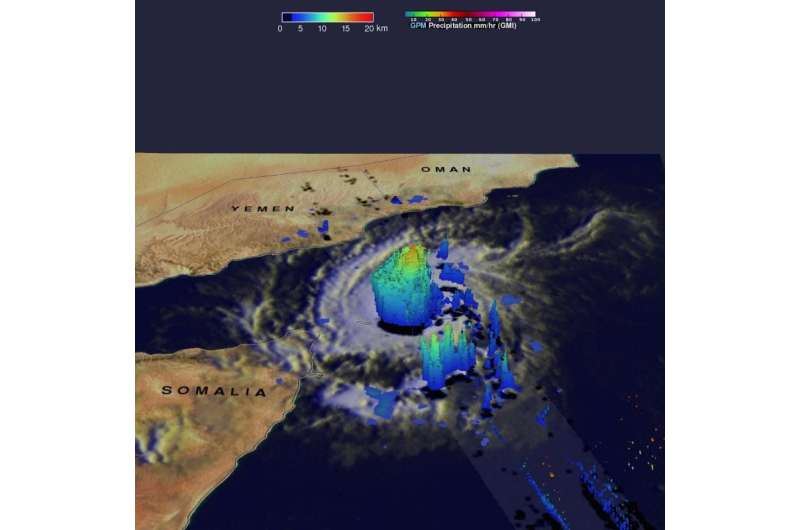 NASA adds up rainfall from 2 historic Yemen tropical cyclones
