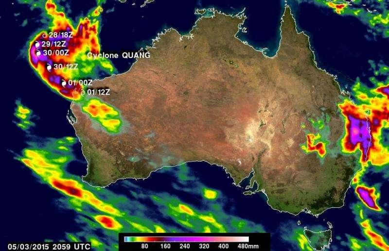 NASA IMERG sees Australia's bicoastal rainfall