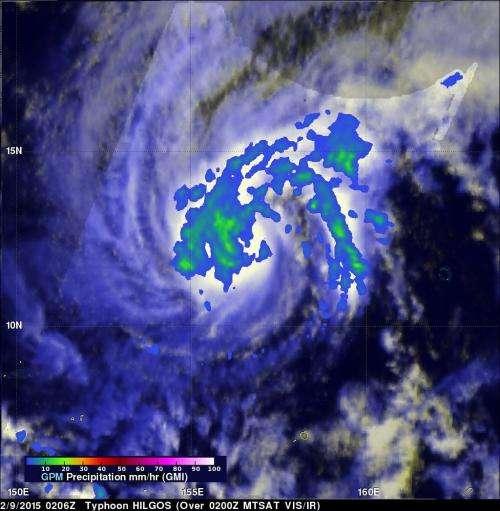 NASA-JAXA's TRMM and GPM satellites measure rainfall rates in Typhoon Higos