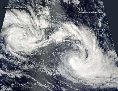 NASA panorama of 2 Southern Indian Ocean tropical cyclones