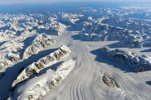 NASA photo obtained November 24, 2015 shows the Heimdal Glacier in southern Greenland, captured on October 13, from NASA Langley
