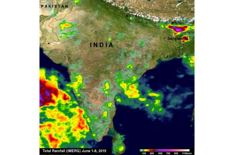 NASA sees the start of India's monsoon season