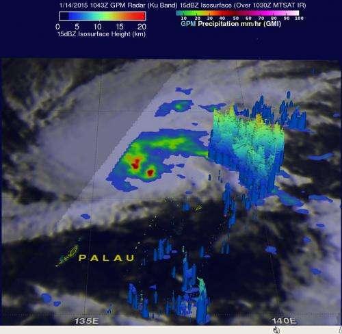 NASA's GPM satellite sees Tropical Storm mekkhala organizing