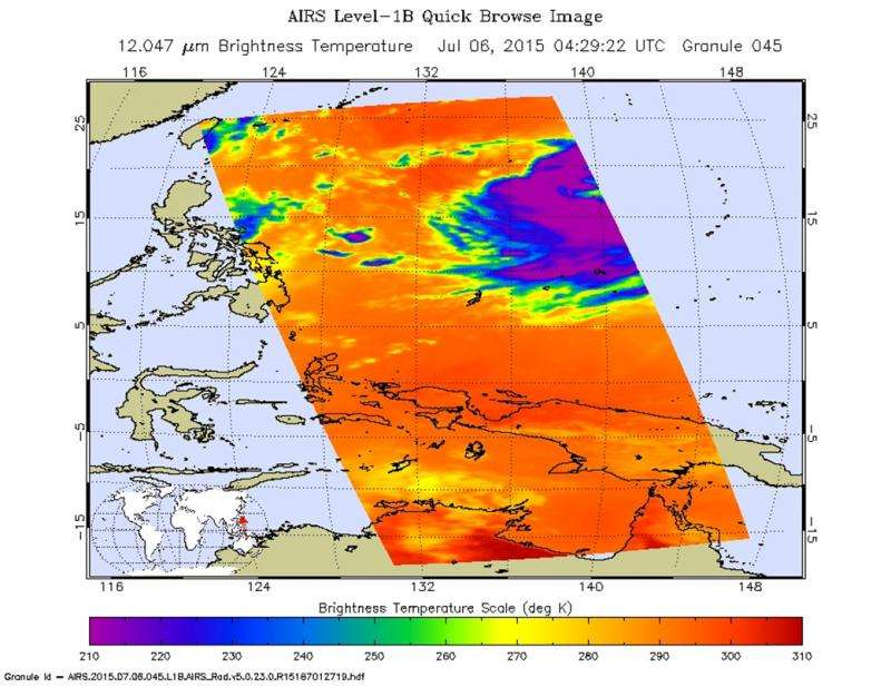 NASA's infrared look at strengthening Typhoon Chan-Hom