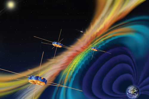 NASA spacecraft in Earth's orbit, preparing to study magnetic reconnection