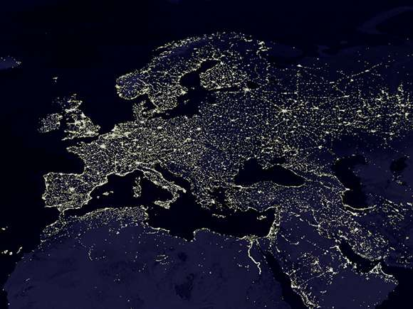 Nighttime view of Earth reveals size of urban sprawl