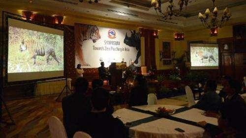 Participants attend an anti-poaching summit in Kathmandu on February 2, 2015