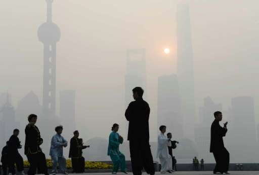 Pollution-fueled smog days like this one in Shanghai on November 12, 2014, are common in China, one of the world's biggest pollu