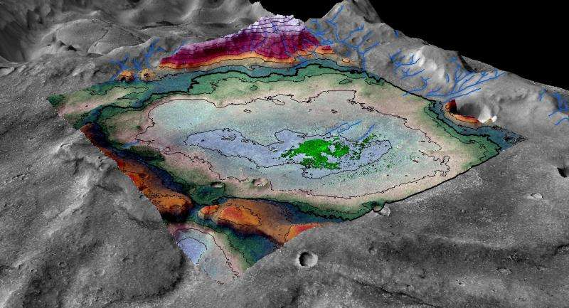 Salt flat indicates some of the last vestiges of Martian surface water