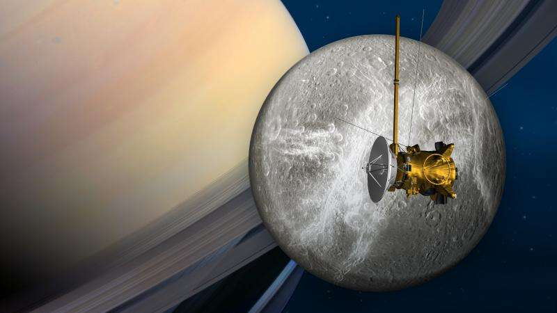Saturn spacecraft to buzz icy moon Dione June 16