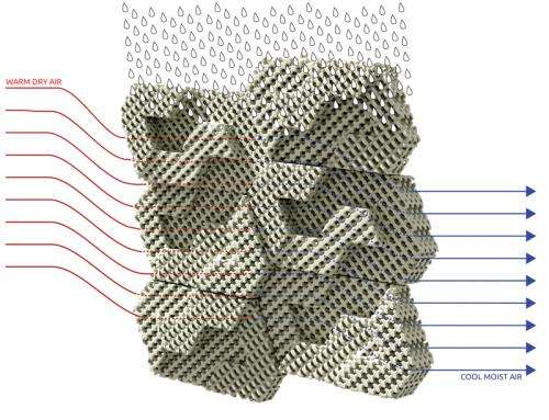 Showing the 3D-printed brick way to cool a room