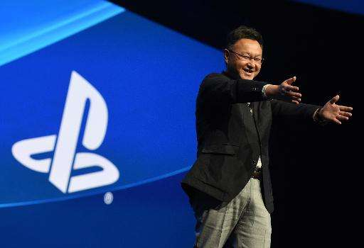 Shuhei Yoshida, president of Sony's Worldwide Studios for Sony Computer Entertainment, addresses the audience before the opening