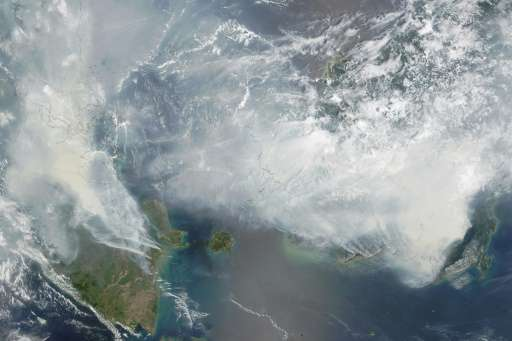 Smoke from Indonesia forest fires pictured  on NASA's Terra satellite on September 24, 2015