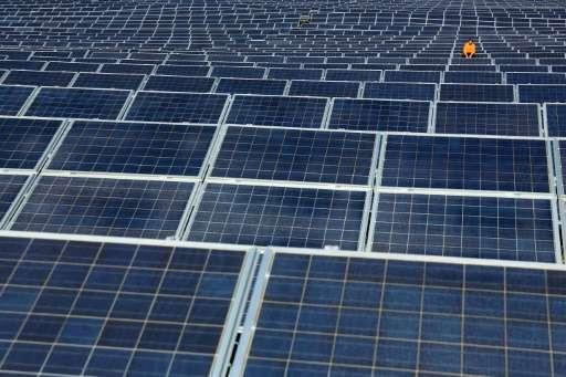 Solar panels at Norsol solar energy array in Villaldemiro, northern Spain