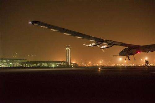 Solar-powered plane takes off from Oman, heads to India