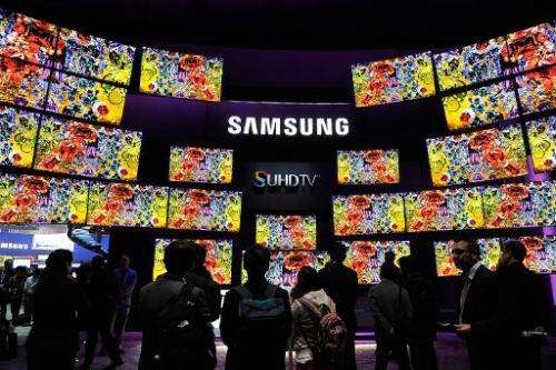 South Korean tech giant Samsung displays its televisions at the 2015 International CES in Las Vegas on January 6, 2015