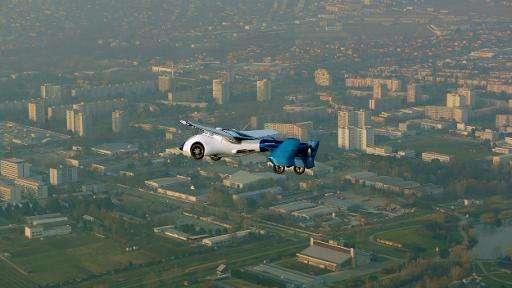 The AeroMobil 3.0 prototype flies over Nitra