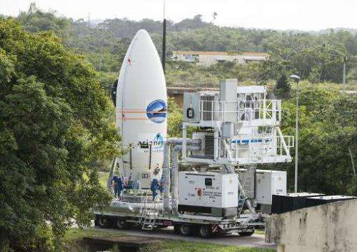 The European Space Agency's Intermediate eXperimental Vehicle is transported on January 30, 2015 ahead its launch in French Guia