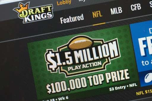 The fantasy sports website DraftKings is seen on October 16, 2015 in Chicago, Illinois