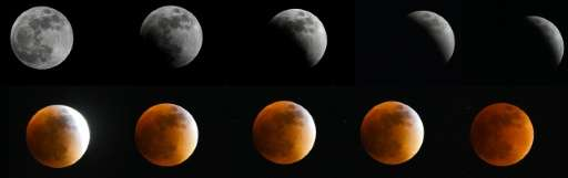 The moon in various stages of a total lunar eclipse as seen from Bogota, Colombia, on September 27, 2015