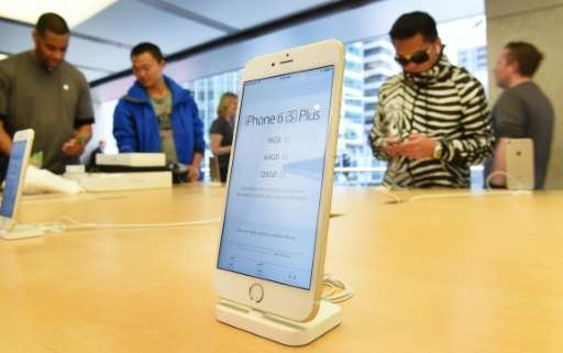 The new Apple iPhone 6s Plus is displayed as it goes on sale in Sydney on September 25, 2015