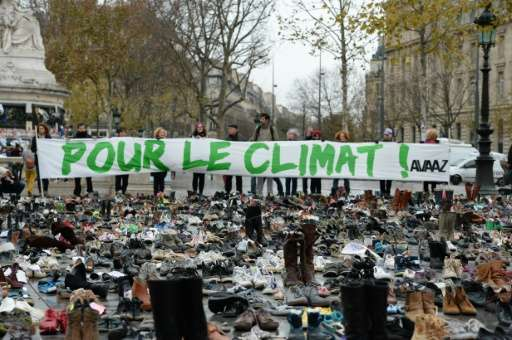 The Place de la Republique in Paris, covered by hundreds of pairs of shoes on November 29, 2015 in a climate rally, one way to g