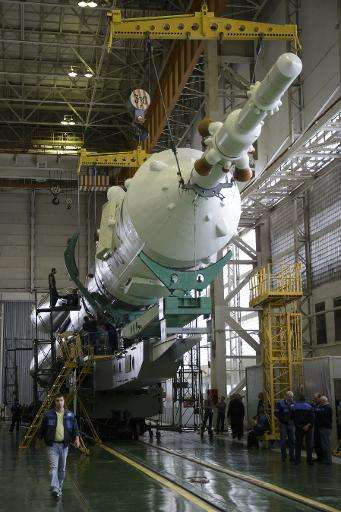 The Soyuz rocket and Soyuz TMA-16M spacecraft assembled at Building 112 on the Baikonur Cosmodrome on  March 24, 2015 in Baikonu