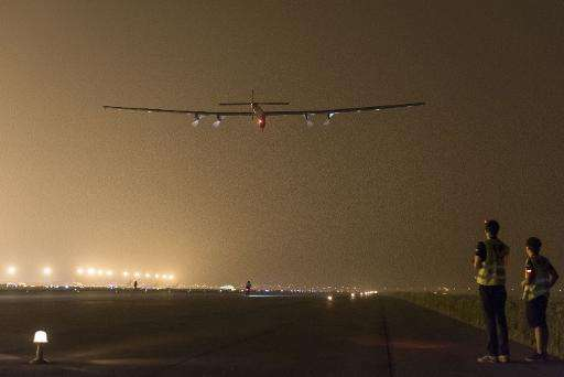 The Swiss-made solar-powered plane Solar Impluse 2 taking off from Nanjing's Lukou International Airport in Nanjing on May 31, 2
