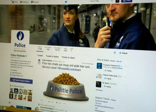 The Twitter account of Belgian federal police with a post offering a virtual bowl of pet food to Internet cats to thank social m