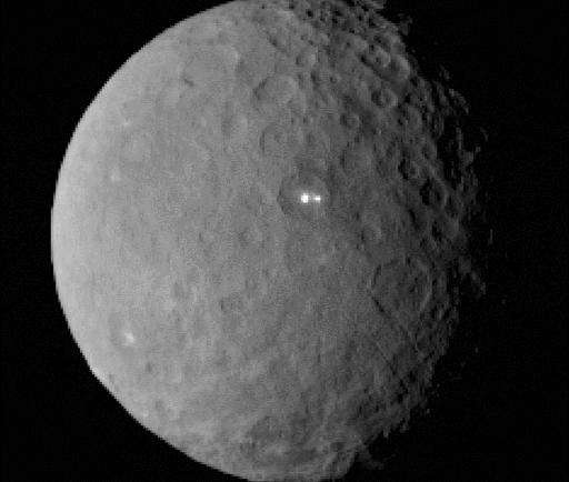 This image is taken by NASA's Dawn spacecraft of dwarf planet Ceres on February 19, 2015 from a distance of nearly 29,000 miles