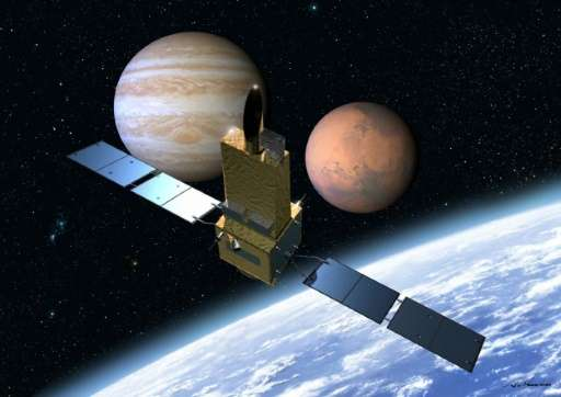 This imaginary image, illustrated by Akihiro Ikeshita and released from Japan Aerospace Exploration Agency (JAXA) shows Japan's