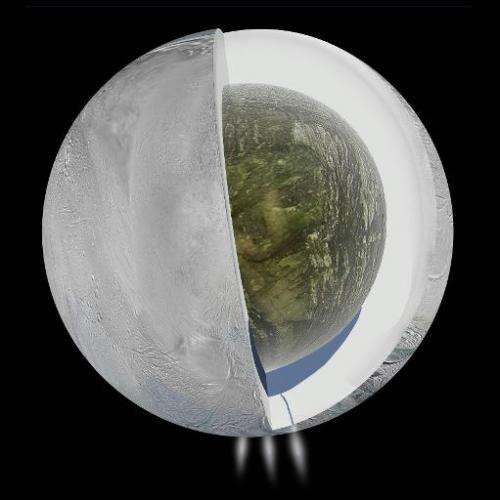 This NASA image from April 4, 2014 shows a diagram that illustrates the possible interior of Saturn's moon Enceladus based on a