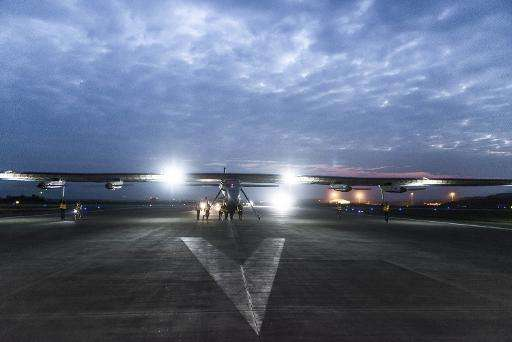 This photo released by the Solar Impulse project shows the Solar Impusle 2 preparing to take off from Chongqing, China to Nanjin