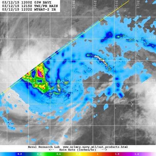 TRMM satellite finds heavy rain in Tropical Storm Bavi