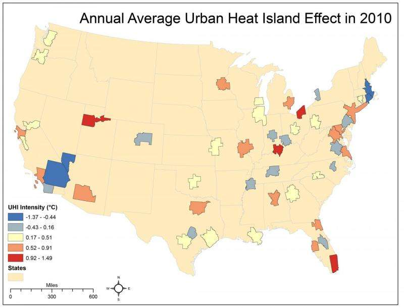 UGA study ranks US cities based on the urban heat island effect on temperatures