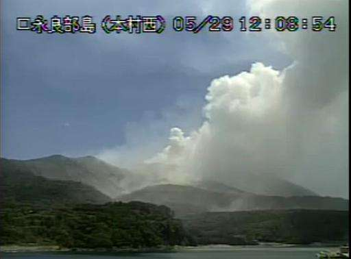 Video grab from the Japan Meteorological Agency shows the eruption of Mount Shindake on Kuchinoerabu island in Kagoshima Prefect