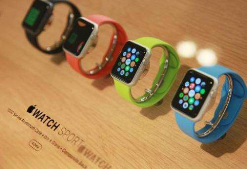 View of the Apple watch displayed in a shop in Paris, France, on September 30, 2014