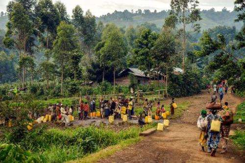 Villagers from Gisigari and Rugari in the Virunga National Park, some 50 kms north of Goma, eastern Democratic Republic of Congo