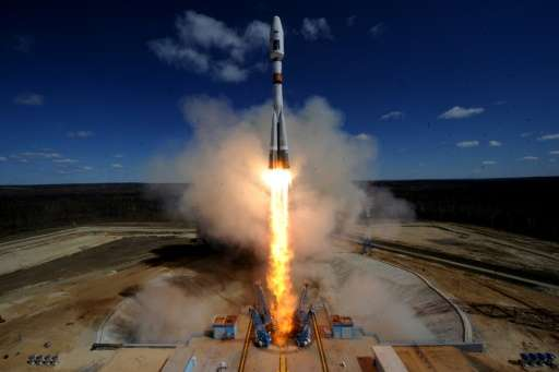 A Russian Soyuz 2.1a rocket carrying Lomonosov, Aist-2D and SamSat-218 satellites lifts off from the new Vostochny cosmodrome ou