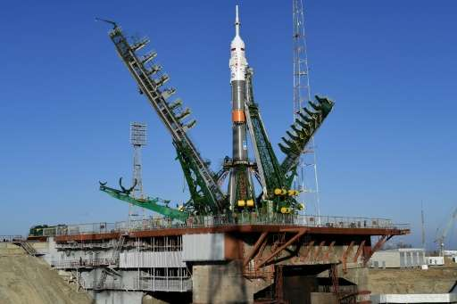 A Soyuz spacecraft stands at the launch pad of the Russian-leased Baikonur cosmodrome in Kazakhstan on November 14, 2016