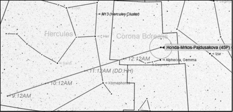 Comet 45P/Honda–Mrkos–Pajdusakova brightens in December