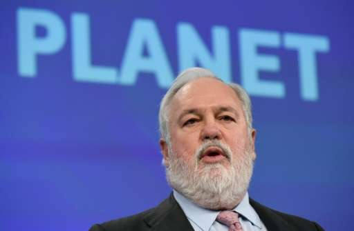 EU Commissioner of Climate Action and Energy, Miguel Arias Canete, speaks during a press conference in Brussels, in February 201